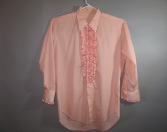 Ruffle Front Tux Shirt // Peach // Formal // Prom // Wedding...large...