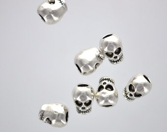 5 Antique Silver Tone Metal SKULL Beads, European Large Hole Beads . 12mm x 9mm  bme0254