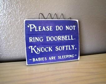 Made to Order Please Do Not Ring Doorbell, BABIES Sleeping  Wood Primitive Door Sign for TWINS