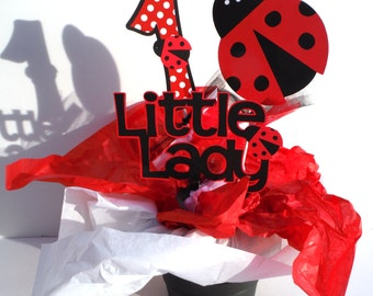Red Ladybug Themed Party Centerpiece Sticks Set of 3 Personalized With Age in Red With White Dot