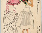 1950s Vintage Sewing Pattern McCalls 8716 Yoked Petticoat Half Slip Crinoline Ruffled Hemline Waist 28
