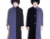 Reconstructed vintage coat - black & blue