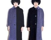 Reconstructed vintage coat - black & blue