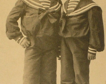 Two Little Sailor Boys Antique Photograph
