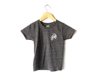 baby newborn infant BIKE t shirt silkscreen print NEW super soft charcoal black bicycle handmade NEW children's t-shirt top