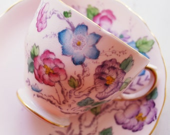 Tuscan Tea Cup and Saucer, Handpainted Pink Floral Teacup