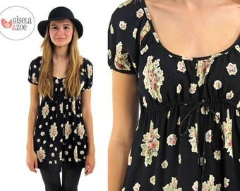 90s Betsey Johnson Floral Baby Doll Top ΔΔ  Boho Floral Empire Waist Top Puff Sleeves ΔΔ  xs / sm