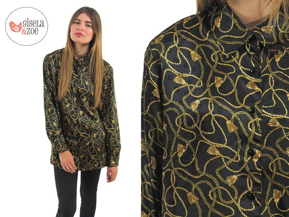 SALE - 80s Oversized Blouse / Baroque Print Top / Loose Cut Button Up Top / md lg