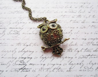 Vintage Bronze Owl Necklace, Bird Necklace, Made in Sweden, Swedish Jewelry Design, Scandinavian Jewelry