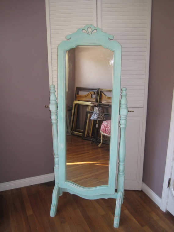 Country French Full Length Trestle Stand Tilt Mirror Up Cycled