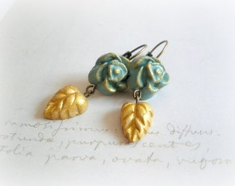 Blue roses earrings - clay dangles mist teal blue flower gold golden leaf  autumn fall botanical jewelry spring leafy nature inspired