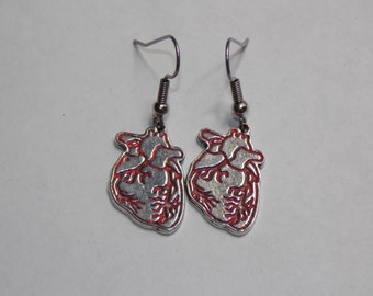 Gorgeous Geekery Anatomical Heart Earrings in Red