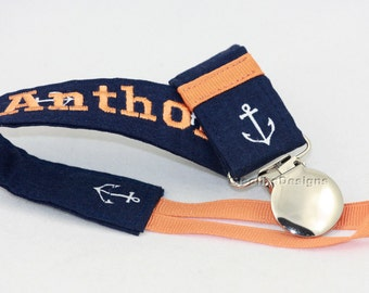 Nautical Personalized Pacifier Clip,  baby shower gifts, New baby gift