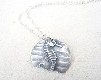 Seahorse necklace nautical jewelry, hand crafted from recycled silver clay from vintage bead design