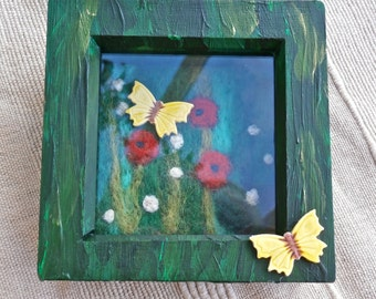 Wild flower art - SECOND - Needle felted poppies and ceramic butterflies - Mixed media garden art - (small)