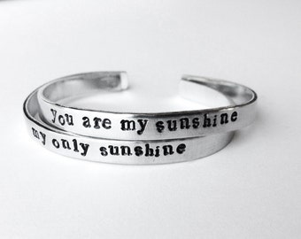 friendship bracelets set of 2 best friend jewelry - you are my sunshine hand stamped aluminum bracelet, mother daughter jewelry, handmade