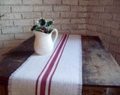 Burlap Table Runner with Barn Red Grain Sack Stripes 10 x 48 - 12 x 48 - 14 x 48 - Choose Your Burlap and Stripe Color - Rustic Table Runner