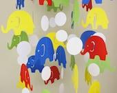 Circus Elephant Baby Mobile // Blue, Green, Yellow Baby Crib Mobile // Nursery Mobile CHOOSE COLORS