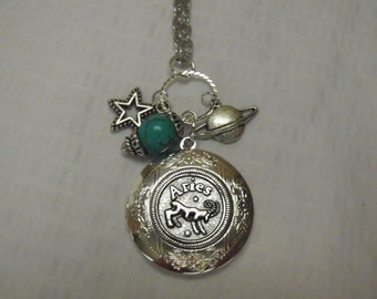 Silver Locket Necklace, Zodiac Symbol Aries With Turquoise Bead And Charms Womens Gift  Handmade