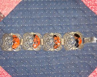 Vintage Victorian filigree floral metal bracelet orange black stone seed pearls