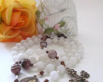 Snow Quartz and Botswana Agate Catholic Rosary First Communion Confirmation Rosary