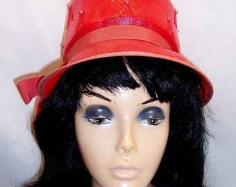 REDUCED! Vintage Hat Red Straw 1960s Mod