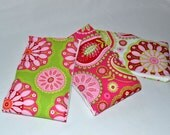 Girl Burp Cloth Set - Girl Burp Cloths - Boutique Burp Cloths - Pink and Green - Sweet Lullaby
