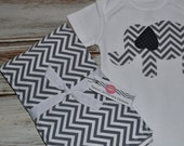Baby Chevron Onesie and Burp Cloth Gift Set - Chevron Elephant Onesie and Chevron Burp Cloth