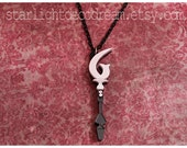 SALE Sailor Saturn Silence Glaive Acrylic and Swarovski Crystal Necklace or Phone Strap Sailor Moon Inspired for Mahou Kei & Magical Girl