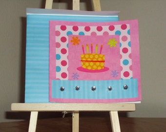 Happy Birthday Card - Pink Birthday Card - Girly Birthday Card - Polka Dot Birthday Card - Birthday Cake Card