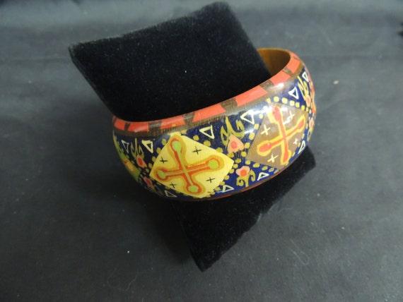 Vintage Bangle Bracelet Painted Wood Hand Crafted Ethnic
