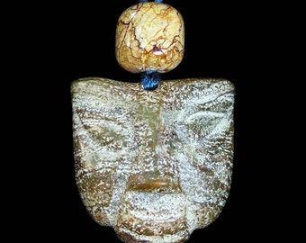 Ancient Jade Human Face Mask Pendant Necklace with Ancient and Antique Jade Beads by NeoWare