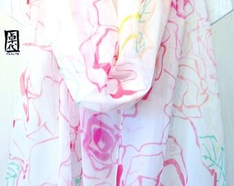 Hand Painted Silk Shawl, White Silk Shawl, Rainbow Wildlowers. Large Silk Scarf, Silk Floral Scarf, Silk Chiffon Scarf. 20x88 in.