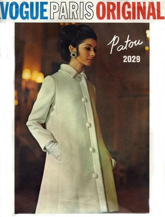 Vogue Paris Original Patou Dress Coat Vintage Sewing Pattern 2029 Evening Dress UNCUT Pattern Sew In Label Included  Misses Size 16 Bust 38