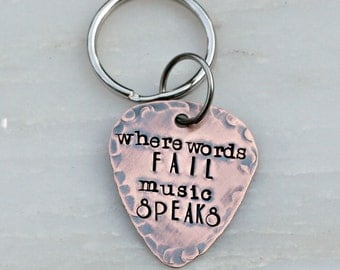 Guitar Pick Keychain - Personalized Guitar Pick - Hand Stamped - Music Lovers - Gift for Him