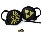 Legend of Zelda headphones earphones handpainted - Triforce Hylian seal - black gold