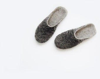 Felted backless wool slippers, house shoes decorated with lace.