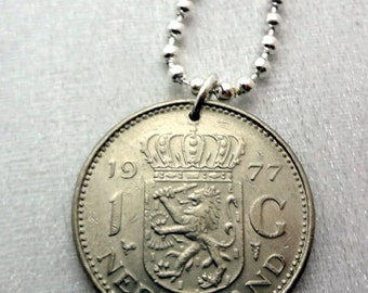 COIN NECKLACE. Vintage 1967 1972 1977 1980 Netherlands coin. Lion necklace. crowned shield. Man necklace. House of Orange. dutch necklace