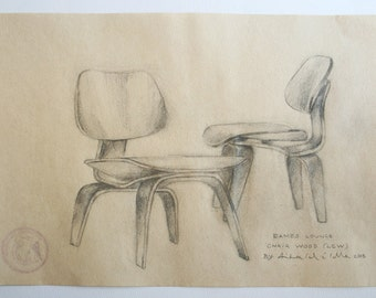 Original Drawing, Eames Love (LCW), 2013.
