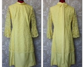 Vintage 1960's Lemon Yellow Lace Dress with Bell Sleeves and Bow Accent Back M/L
