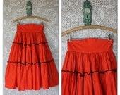Vintage 1950's Tangerine Orange High Waist Circle Skirt S/XS