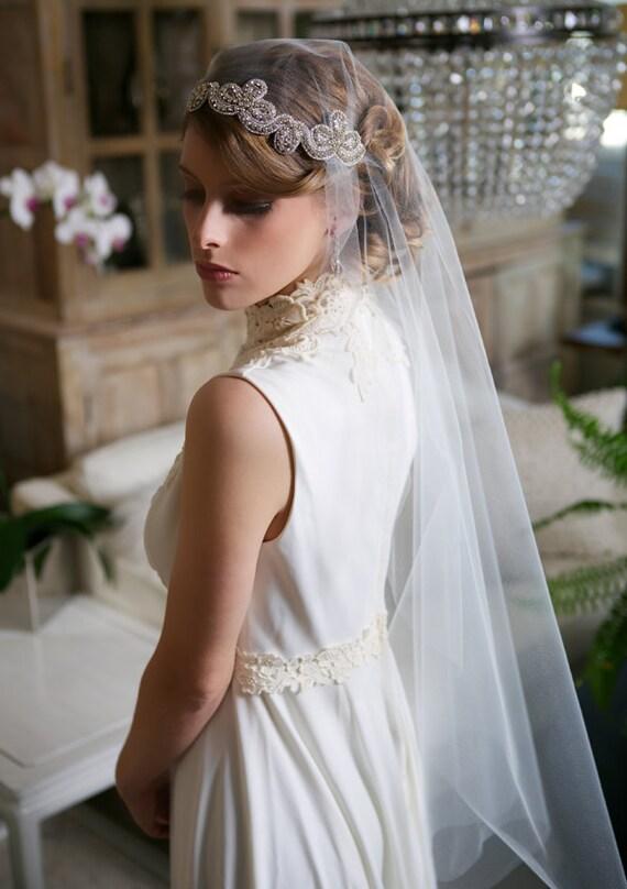 Cool Silver Crystal Juliet Cap Veil Art Deco Veil By Gildedshadows Short Hairstyles For Black Women Fulllsitofus