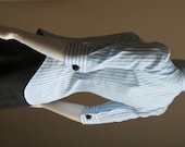 Sky Blue Cotton Shirt with White Stripes and Elbow Lenght Sleeves