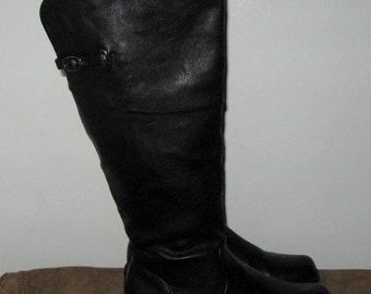 Vintage Black Leather Tall Knee High Equestrian Riding Boots in Size 6 by FOREVER