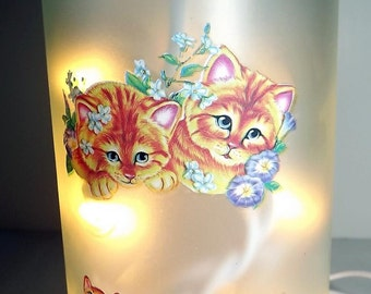 CATS GALORE Recycled Glass Bottle Accent Lamp/Light-Great Gift Idea