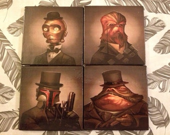 Steampunk Star Wars Graphic Coasters Set of 4