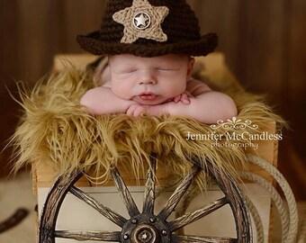 Crochet Newborn Cowboy Hat with diaper cover