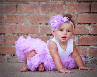 Pettiskirt and Headband Set White with Lavender Orchid Ruffles Newborn Photo Prop Sizes Newborn-24 Months Over the Top Headband Matching