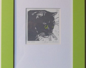 "Longhaired cat block print, framed, matted, hand-colored - ""On watch"""