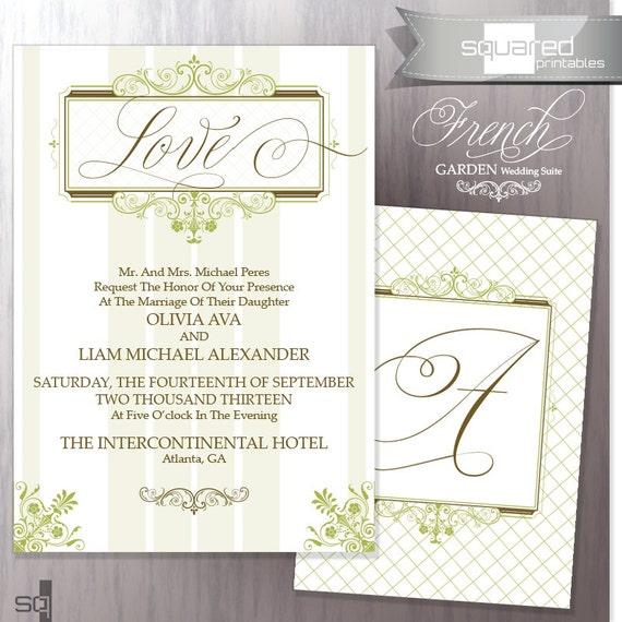 vintage garden wedding invitation bridal wedding invite green victorian by